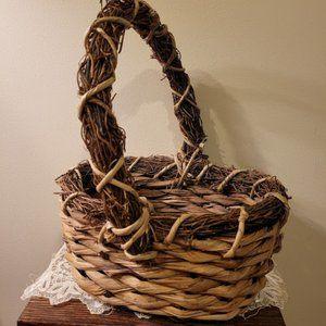 Gorgeous Handmade Rustic Basket Country Wood Boho